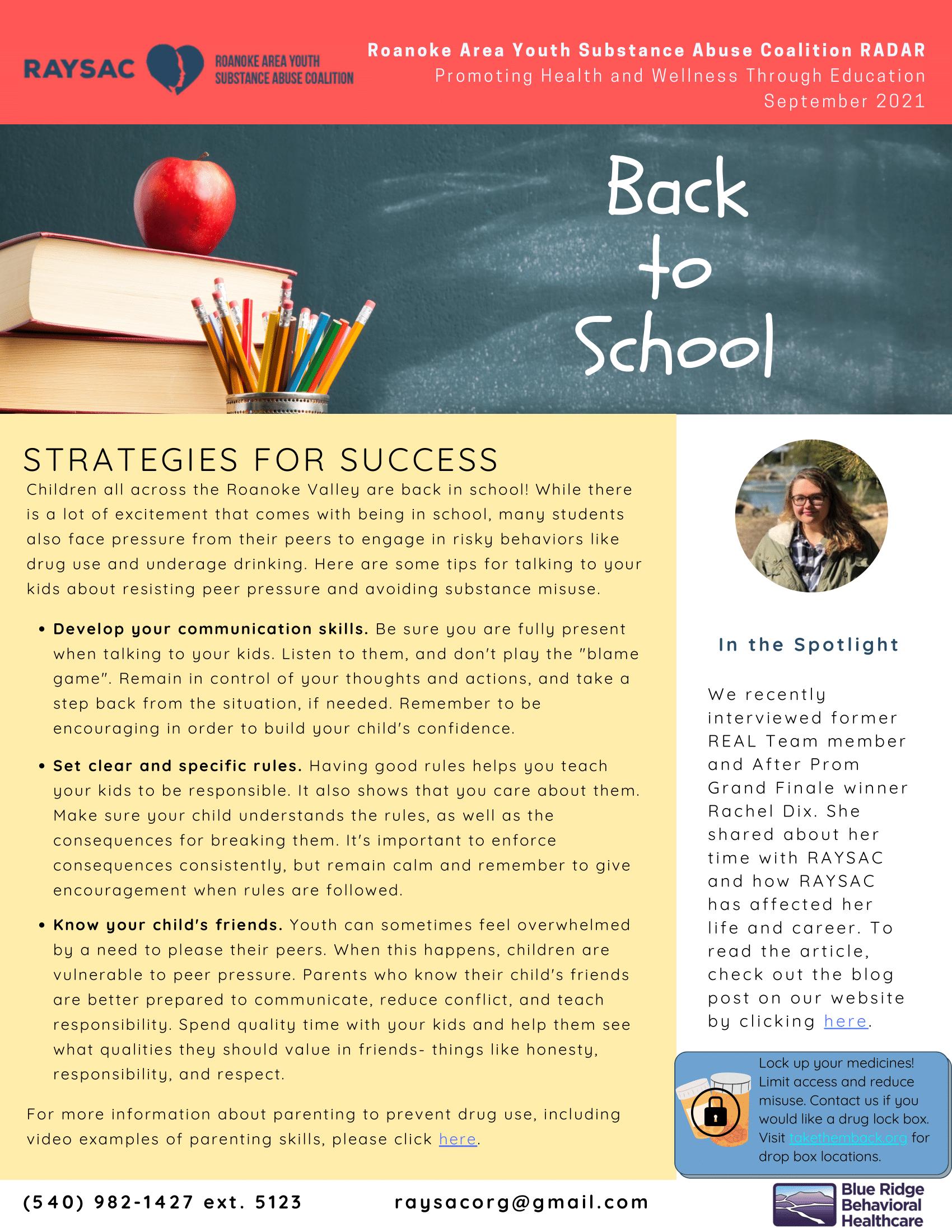 Back To School Strategies for Success-September 2021 RADAR